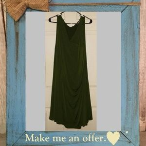NWOT Jessica London Stretchy Olive Wrap Dress